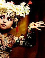 Indonesia, Bali, Amlapura, Legong dancer in dance position. Stock Photo - Premium Rights-Managednull, Code: 849-02867610