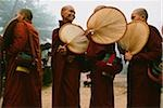 Myanmar (Burma), Bago, Smiling Buddhist monks with fans, collecting alms. Stock Photo - Premium Rights-Managed, Artist: Asia Images, Code: 849-02867897