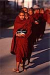 Myanmar (Burma), Nyaungshwe, Inle lake, Buddhist monks returning to monastery after collecting alms. Stock Photo - Premium Rights-Managed, Artist: Asia Images, Code: 849-02867954