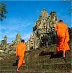 Cambodia, Sien Reap, Province, Angkor Wat, Buddhist monks walking up steps to gateway of Angkor Thom entrance Stock Photo - Premium Rights-Managed, Artist: Asia Images, Code: 849-02874981