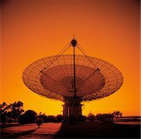 radio telescope - Radio Telescope, Satellite Receiving Dish, Sunset Silhouette Stock Photo - Premium Royalty-Freenull, Code: 600-02885982