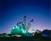 Open Cut Black Coal Mine, Dragline and Bulldozer, Dusk Stock Photo - Premium Royalty-Freenull, Code: 600-02886581
