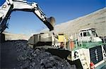 Black Coal Mining, Loading Coal Trucks, Australia