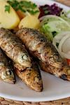 Fresh sardines char grilled on a barbeque Stock Photo - Premium Rights-Managed, Artist: foodanddrinkphotos, Code: 824-02888727