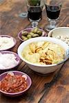 Dips With crisps and red wine Stock Photo - Premium Rights-Managed, Artist: foodanddrinkphotos, Code: 824-02889525