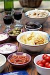 Dips with crisps and red wine Stock Photo - Premium Rights-Managed, Artist: foodanddrinkphotos, Code: 824-02889528