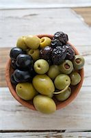 pimento - Overhead View of Green;Black And Calamata Olives in a Small Ceramic Bowl Stock Photo - Premium Royalty-Freenull, Code: 682-02893243