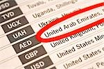 Paper with United Arab Emirates Circled in List of World Currencies Stock Photo - Premium Royalty-Free, Artist: Aflo Sport               , Code: 682-02894219
