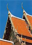 Roof detail, Wat Benchamabophit, Bangkok, Thailand, Southeast Asia, Asia