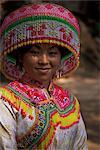 Miao girl in festival hat, Langlin, Guangxi, China, Asia
