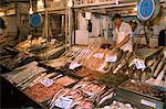 A fishmonger and scales in the fish market in the Mercado Central in Santiago, Chile, South America Stock Photo - Premium Rights-Managed, Artist: Robert Harding Images, Code: 841-02901725