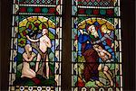 Stained glass of Adam and Eve, and Abraham preparing to sacrifice Isaac, St. Mary's church, Deerhurst, Gloucestershire, England, United Kingdom, Europe Stock Photo - Premium Rights-Managed, Artist: Robert Harding Images, Code: 841-02902224