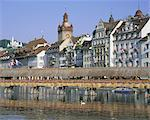 Kapellbrucke, covered wooden bridge, over the Reuss River, Lucerne (Luzern), Switzerland, Europe Stock Photo - Premium Rights-Managed, Artist: Robert Harding Images, Code: 841-02902902