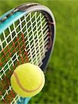 Close-up of Tennis Ball and Racquet                                                                                                                                                                      Stock Photo - Premium Rights-Managed, Artist: James Tse                , Code: 700-02912415