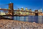 Brooklyn Bridge and Lower Manhattan Skyline, New York, New York, USA