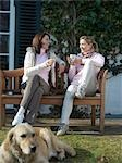 Two women sitting on bench outside Stock Photo - Premium Rights-Managed, Artist: F1Online, Code: 853-02913739