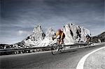 Two road bikers riding downhill, Dolomites Stock Photo - Premium Rights-Managed, Artist: F1Online, Code: 853-02914245