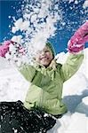 Girl playing in snow Stock Photo - Premium Rights-Managed, Artist: F1Online, Code: 853-02914383