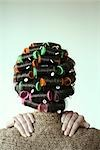 woman with curlers, back view Stock Photo - Premium Rights-Managed, Artist: F1Online, Code: 853-02914555