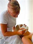 woman putting some creme on the face of another woman with a brush Stock Photo - Premium Rights-Managed, Artist: F1Online, Code: 853-02914627