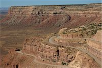 The Mokee Dugway road descends from Cedar Mesa, in the Valley of the Gods, Utah, United States of America, North America Stock Photo - Premium Rights-Managednull, Code: 841-02915642
