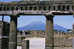 Versuvius Volcano seen from Pompeii, buried in AD79 eruption, Renovated stonework of a building on the edge of the Roman Forum, Pompeii, UNESCO World Heritage Site, Campania, Italy, Europe Stock Photo - Premium Rights-Managed, Artist: Robert Harding Images, Code: 841-02915937