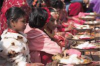 Girls at Kumari (living goddess) festival, Durbar Square, Kathmandu, Nepal, Asia Stock Photo - Premium Rights-Managednull, Code: 841-02917363