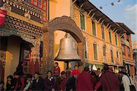 People near large bell in front of monastery, Lhosar Tibetan and Sherpa New Year festival, Bodhnath Stupa, UNESCO World Heritage Site, Bagmati, Kathmandu, Nepal, Asia Stock Photo - Premium Rights-Managednull, Code: 841-02917375