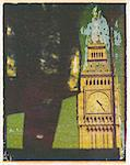 Polaroid Image Transfer of Big Ben framed by statue of Sir Wiilliam Churchill, Westminster, UNESCO World Heritage Site, London, England, United Kingdom, Europe Stock Photo - Premium Rights-Managed, Artist: Robert Harding Images, Code: 841-02918122