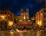 The Spanish Steps illuminated at night in the city of Rome, Lazio, Italy, Europe Stock Photo - Premium Rights-Managed, Artist: Robert Harding Images, Code: 841-02918491