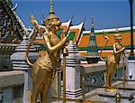 Guardians of the gateway in the Grand Palace in Bangkok, Thailand, Southeast Asia, Asia