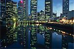 Reflections of the lights of buildings on Boat Quay and Raffles Place at night in Singapore, Southeast Asia, Asia Stock Photo - Premium Rights-Managed, Artist: Robert Harding Images, Code: 841-02918545