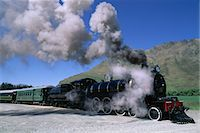 steam engine - The Kingston Flyer steam train, South Island, New Zealand, Pacific Stock Photo - Premium Rights-Managednull, Code: 841-02920111