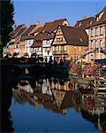 Timbered houses reflected in water in the evening, Petite Venise, Colmar, Haut-Rhin, Alsace, France, Europe Stock Photo - Premium Rights-Managed, Artist: Robert Harding Images, Code: 841-02920523