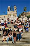 Groups of tourists sitting on the Spanish Steps with the Trinite dei Monti behind, in Rome, Lazio, Italy, Europe Stock Photo - Premium Rights-Managed, Artist: Robert Harding Images, Code: 841-02921173