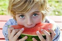 Boy Eating Watermelon Stock Photo - Premium Rights-Managednull, Code: 700-02922693