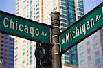 North Michigan Avenue and Chicago Avenue signpost, The Magnificent Mile, Chicago, Illinois, United States of America, North America Stock Photo - Premium Rights-Managed, Artist: robertharding, Code: 841-02925135