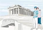 Couple hugging at the Acropolis Stock Photo - Premium Royalty-Freenull, Code: 645-02925821