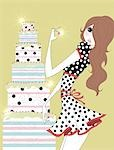 Young woman standing next to tall cake Stock Photo - Premium Royalty-Freenull, Code: 645-02925927