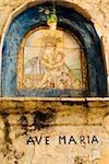 Low angle view of a painting of Ave Maria on the wall of a church, Positano, Salerno, Campania, Italy Stock Photo - Premium Royalty-Free, Artist: imagebroker, Code: 625-02927881
