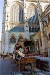 Cart in front of a cathedral, Le Mans Cathedral, Le Mans, France