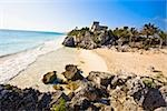 Ruins of a castle at the seaside, Zona Arqueologica De Tulum, Cancun, Quintana Roo, Mexico Stock Photo - Premium Royalty-Freenull, Code: 625-02933829