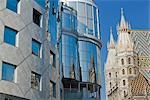 St Stephen's Cathedral and Haas House, Vienna, Austria                                                                                                                                                   Stock Photo - Premium Rights-Managed, Artist: Rudy Sulgan              , Code: 700-02935545