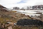 Pile of Coal, Abandoned RCMP Post and Post Office in Background, Craig Harbour, Nunavut, Canada                                                                                                          Stock Photo - Premium Rights-Managed, Artist: J. David Andrews         , Code: 700-02943222