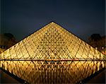 The Pyramide du Louvre illuminated at dusk, Musee du Lourve, Paris, France, Europe