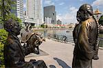 River Merchants, bronze sculpture by Aw Tee Hong depicting city's historic development, on river bank, Boat Quay Conservation Area, Central area, Singapore, Southeast Asia, Asia                        Stock Photo - Premium Rights-Managed, Artist: Robert Harding Images, Code: 841-02946317