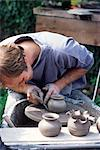 Potter at work on wheel at Rustic Fayre, Devon, England, United Kingdom, Europe                                                                                                                          Stock Photo - Premium Rights-Managed, Artist: Robert Harding Images, Code: 841-02946680