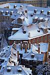 Aerial view of snow covering roofs in winter in the Lesser Town of Prague, Czech Republic, Europe                                                                                                        Stock Photo - Premium Rights-Managed, Artist: Robert Harding Images, Code: 841-02947066