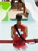 lifeguard at a water park Stock Photo - Premium Royalty-Freenull, Code: 640-02947539