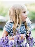 girl behind patch of flowers Stock Photo - Premium Royalty-Free, Artist: foodanddrinkphotos, Code: 640-02951777